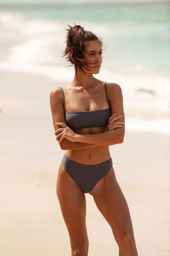 Malibu bikini set in slate grey featuring a beautiful buttery soft fabric