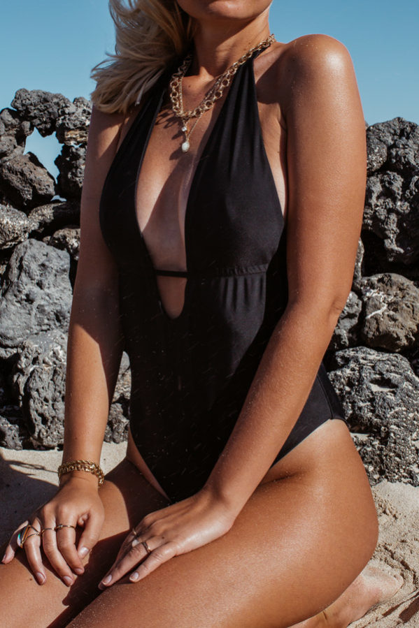 V-neck black one-piece swimsuit