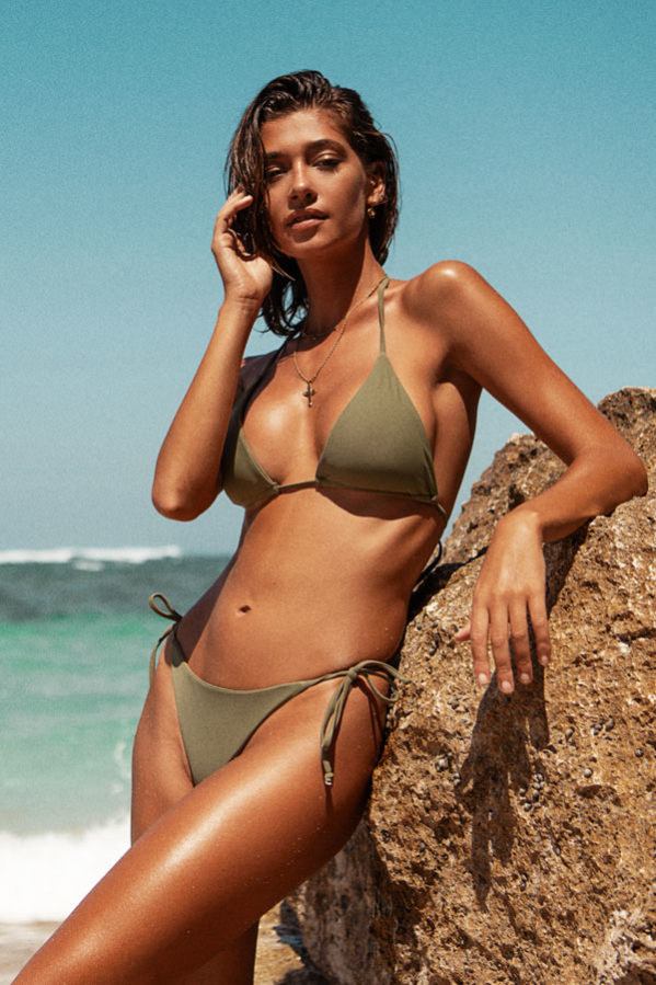 Our Ibiza bikini set is a classic triangle halterneck bikini style made of a buttery soft fabric